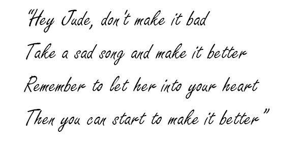 "Lyrics of ""Hey Jude"" by The Beatles"