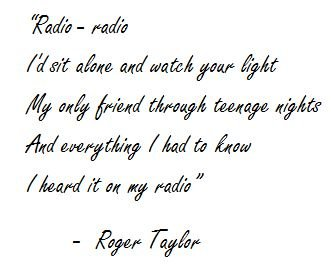 "Lyrics of ""Radio Gaga"" by Queen"