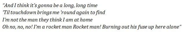 """Lyrics of """"Rocket Man"""" by Elton John"""