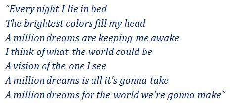 "Lyrics of ""A MillionDreams"""