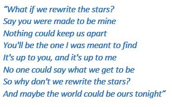 "Lyrics of ""Rewrite the Stars"""