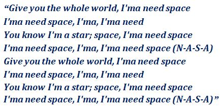 Lyrics of NASA