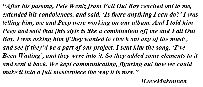 """ILoveMakonnen explains how Fall Out Boy was featured on """"I've Been Waiting"""""""