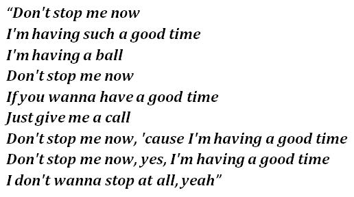 """Don't Stop Me Now"" lyrics"