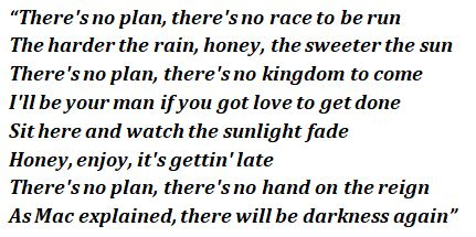 "Lyrics of ""No Plan"""