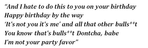 Lyrics of Party Favor