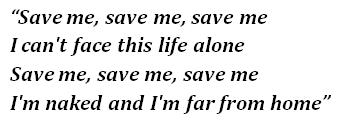 "Lyrics of ""Save Me"""