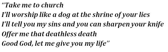 "Lyrics of Hozier's ""Take Me to Church"""
