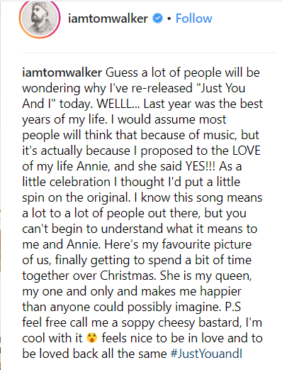 """Tom Walker's Instagram statement on """"Just You and I"""""""