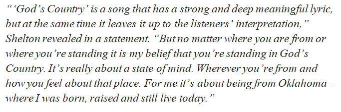 """Blake Shelton talks about the meaning of """"God's Country"""""""