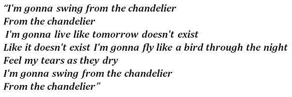 "Lyrics of the song ""Chandelier"""