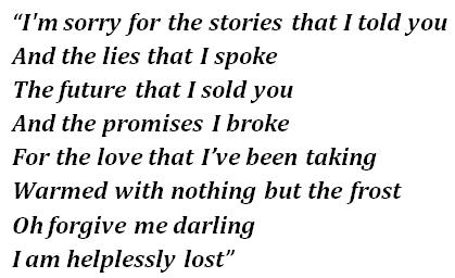"Lyrics of ""Helplessly Lost"""