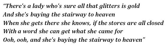 """Lyrics of """"Stairway to Heaven"""""""