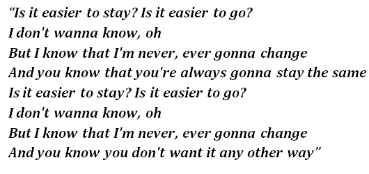 "Lyrics of ""Easier"""