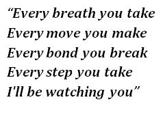 "Lyrics of ""Every Breath You Take"""