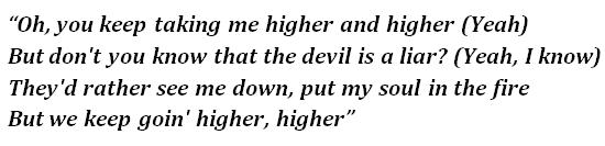 "Lyrics of ""Higher"""
