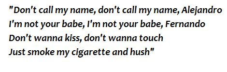 """Lyrics of """"Alejandro"""""""