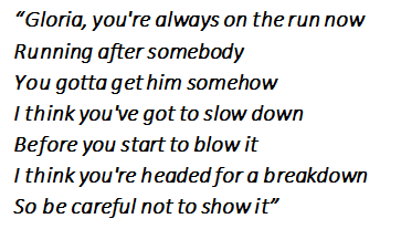 "Lyrics of the song ""Gloria"""
