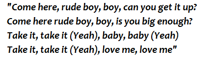 "Lyrics of ""Rude Boy"""