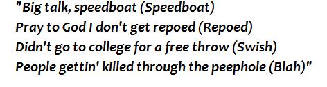 "Lyrics of ""Speedboat"""