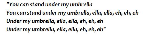 """Lyrics of """"Umbrella"""""""
