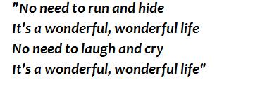 "Lyrics of ""Wonderful Life"""