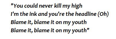 "lyrics of ""Blame It on My Youth"""