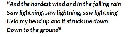 """Saw Lightning"" lyrics"