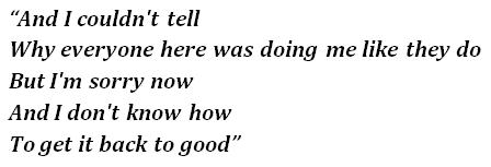"Lyrics of ""Back 2 Good"""