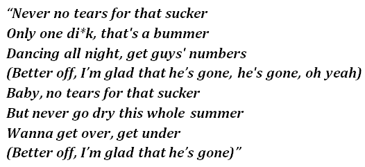 "Lyrics of ""Glad He's Gone"""