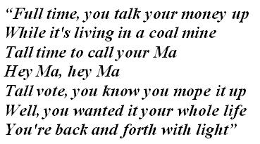 "Lyrics of ""Hey, Ma"""