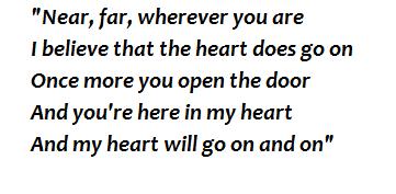 """Lyrics of """"My Heart Will Go On"""""""