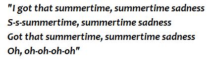 "Lyrics of ""Summertime Sadness"""