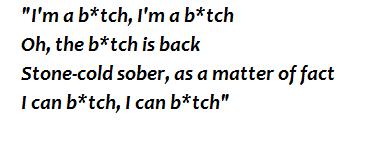 "Lyrics of ""The Bitch is Back"""