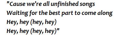 """Lyrics of """"Unfinished Songs"""""""