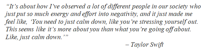 """Taylor Swift explains the meaning of """"You Need to Calm Down"""""""