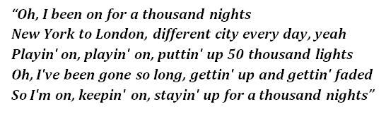 """Lyrics of """"1000 Nights"""""""