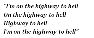 "Lyrics of ""Highway to Hell"""