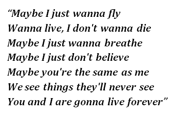 "Lyrics of ""Live Forever"""