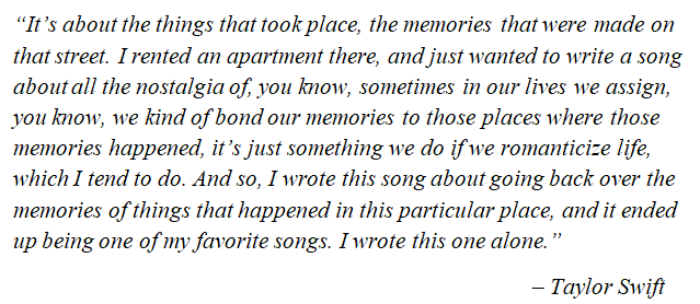 "Taylor Swift on ""Cornelia Street"""