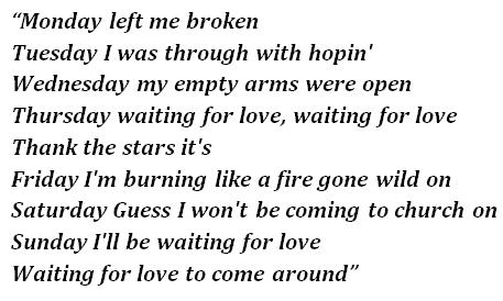 "Lyrics of ""Waiting for Love"""
