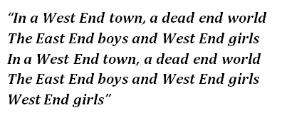 "Lyrics of ""West End Girls"""