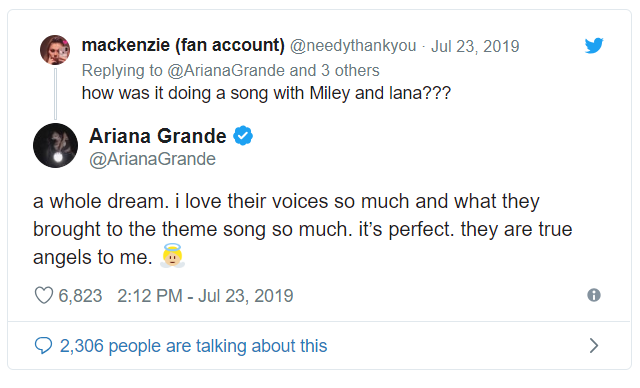 Ariana Grande talks about her collaboration with Miley Cyrus and Lana Del Rey
