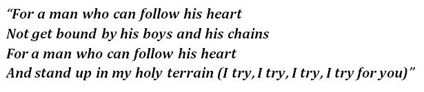 "Lyrics of ""Holy Terrain"""