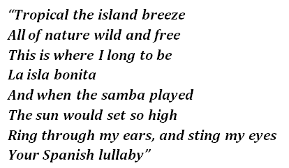 "Lyrics of ""La Isla Bonita"""