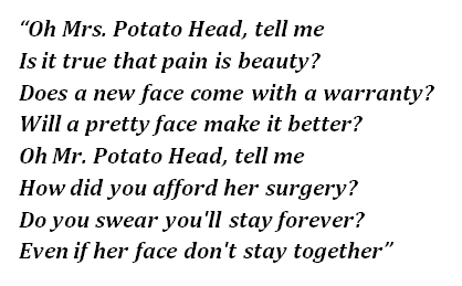 "Lyrics of ""Mrs. Potato Head"""
