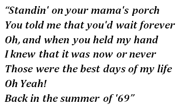 "Lyrics of ""Summer of '69"""