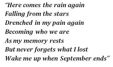 """Wake Me Up When September Ends"" lyrics"