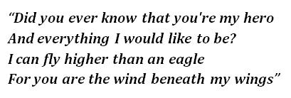 "Lyrics of ""Wind Beneath My Wings"""
