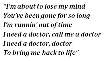 "Lyrics of ""I Need a Doctor"""